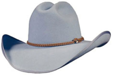 silver hat with braded hatband